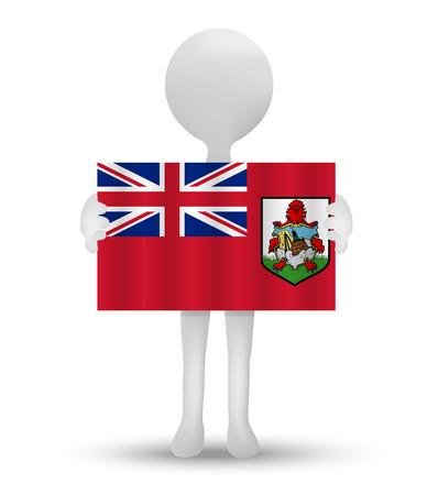 small 3d man holding a flag of Bermuda Ilustração