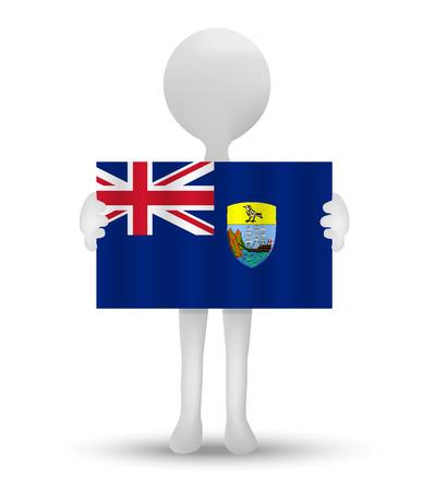 overseas: small 3d man holding a flag of Saint Helena - British overseas territory