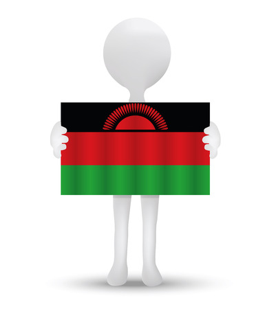 malawian flag: small 3d man holding a flag of Republic of Malawi Illustration