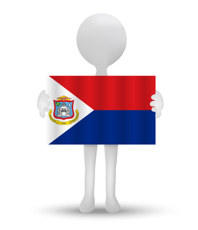 sint: small 3d man holding a flag of Sint Maarten (Dutch Part)
