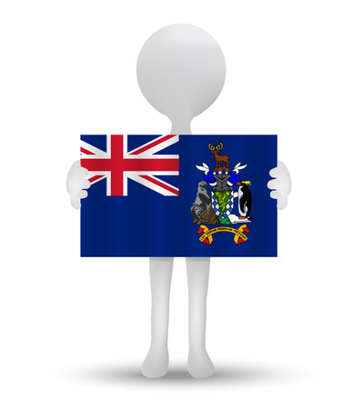 south georgia: small 3d man holding a flag of South Georgia and the South Sandwich Islands