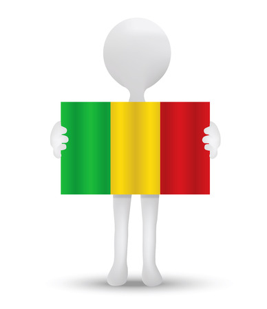 malibu: small 3d man holding a flag of Republic of Mali