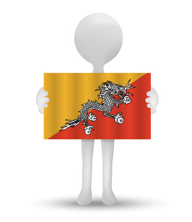 bhutan: small 3d man holding a flag of Kingdom of Bhutan