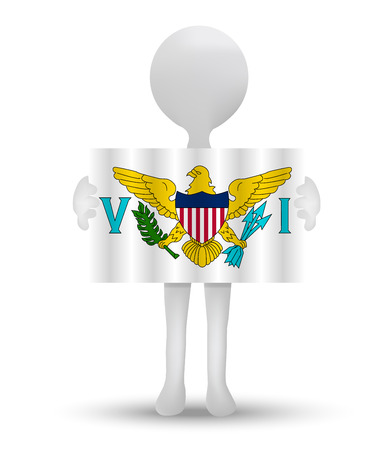 virgin islands: small 3d man holding a flag of United States Virgin Islands Illustration