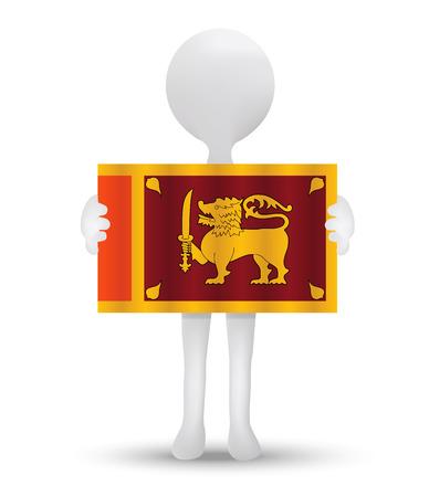 socialist: small 3d man holding a flag of Democratic Socialist Republic of Sri Lanka