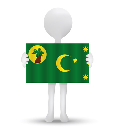 cocos: small 3d man holding a flag of Territory of the Cocos (Keeling) Islands Illustration