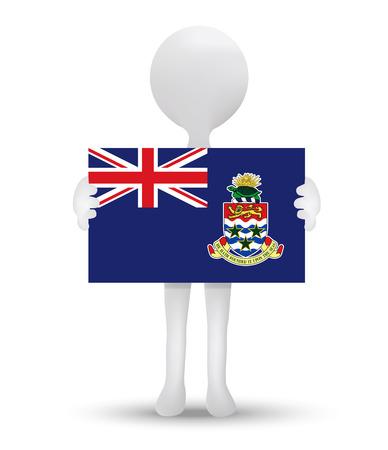 cayman: petit homme 3d tenant un drapeau des �les Ca�mans