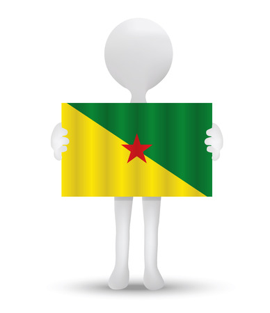 french flag: small 3d man holding a flag of French Guiana Illustration