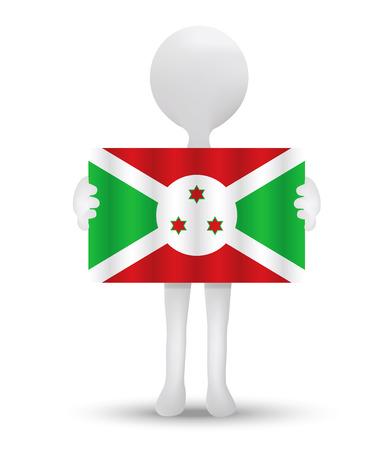 bujumbura: small 3d man holding a flag of Republic of Burundi Illustration