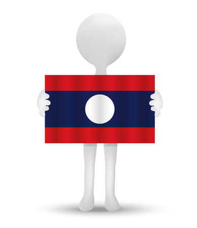 lao: small 3d man holding a flag of Lao Peoples Democratic Republic
