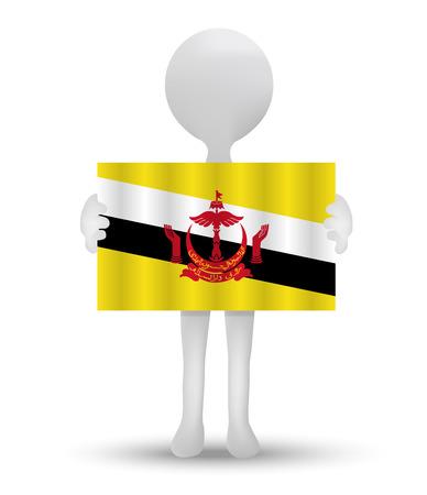 brunei darussalam: small 3d man holding a flag of Brunei Darussalam
