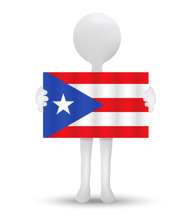 associated: small 3d man holding a flag of Freely Associated State of Puerto Rico