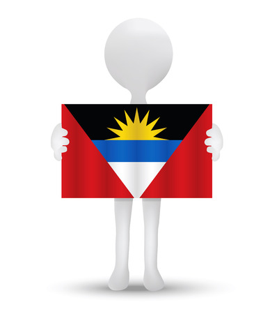 barbuda: small 3d man holding a flag of Antiqua and Barbuda Illustration