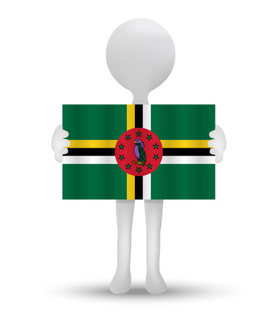 commonwealth: small 3d man holding a flag of Commonwealth of Dominica