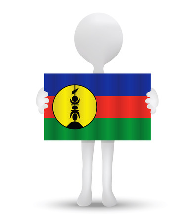 new caledonia: small 3d man holding a flag of New Caledonia