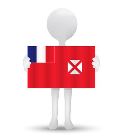 wallis: small 3d man holding a flag of Wallis and Futuna