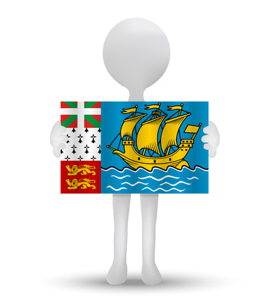 collectivity: small 3d man holding a flag of Overseas collectivity of Saint­Pierre and Miquelon Illustration