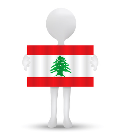 lebanese: small 3d man holding a flag of Lebanese Republic Illustration