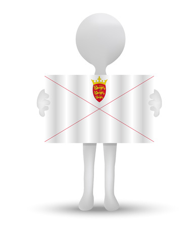 bailiwick: small 3d man holding a flag of Bailiwick of Jersey, British Crown dependency