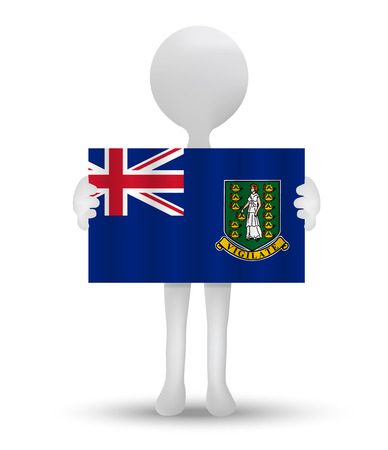 virgin islands: small 3d man holding a flag of British Virgin Islands Illustration