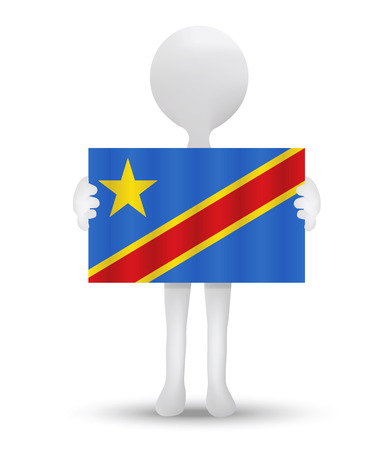 zaire: small 3d man holding a flag of Democratic Republic of the Congo