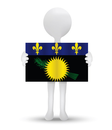 guadeloupe: small 3d man holding a flag of Region of Guadeloupe Illustration