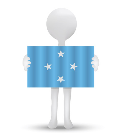 federated: small 3d man holding a flag of Federated States of Micronesia