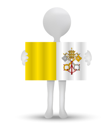 vatican city: small 3d man holding a flag of State of the Vatican City Illustration