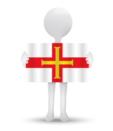 guernsey: small 3d man holding a flag of Bailiwick of Guernsey