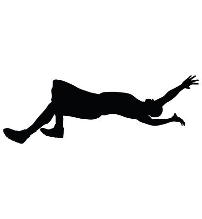 Vector Image - man silhouette isolated on white background - in falling pose