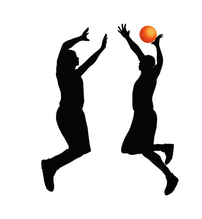 jump shot: Vector Image - basketball player man silhouette isolated on white background Illustration