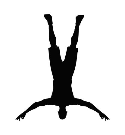 caida libre: Imagen vectorial - silueta del hombre aislado en el fondo blanco - al caer pose Vectores