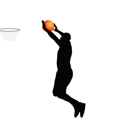 one team: Vector Image - basketball player man silhouette isolated on white background Illustration