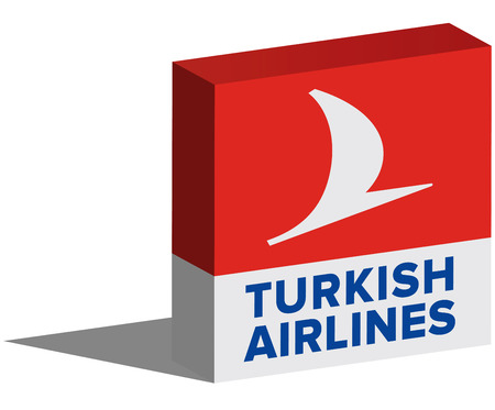 thy: ISTANBUL, TURKEY - AUGUST 06, 2015: Turkish Airlines logotype in 3d form and placed on white background. Turkish Airlines (Turk Hava Yollari, THY) is the national flag carrier airline of Turkey. Editorial
