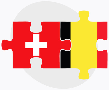 national flag indonesian flag: Switzerland and Belgium Flags in puzzle isolated on white background Illustration