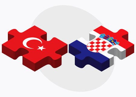 eurasian: Turkey and Croatia Flags in puzzle isolated on white background