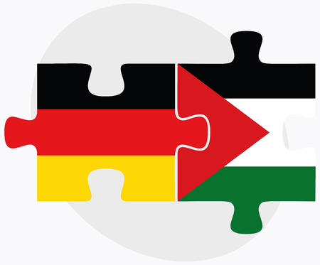 palestine: Germany and Palestine Flags in puzzle isolated on white background