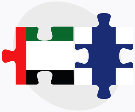 United Arab Emirates and Finland Flags in puzzle isolated on white background