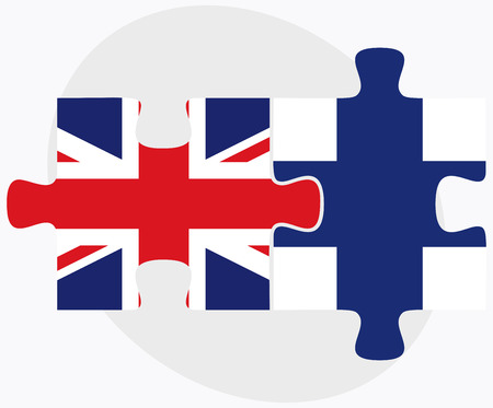United Kingdom and Finland Flags in puzzle isolated on white background Ilustração