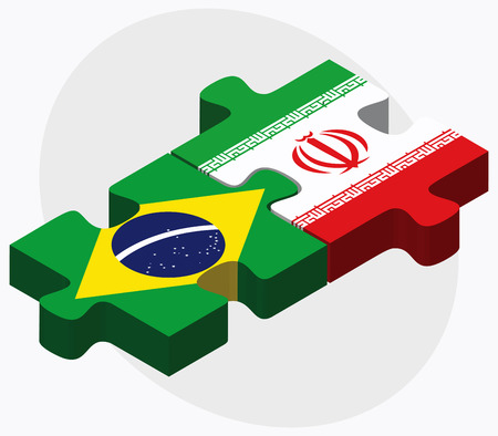 federative republic of brazil: Brazil and Iran Flags in puzzle isolated on white background