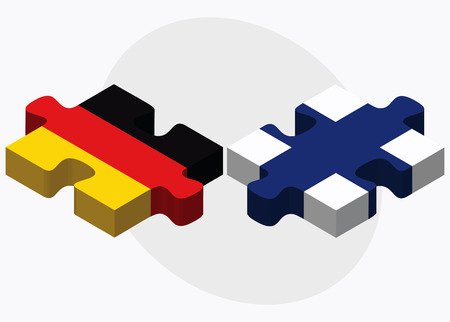 Germany and Finland Flags in puzzle isolated on white background