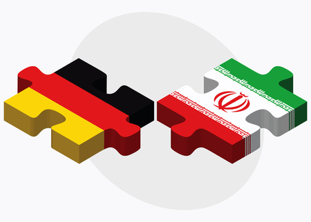 nations: Germany and Iran Flags in puzzle isolated on white background Illustration