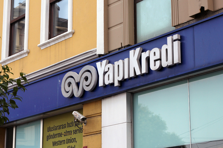 ve: ISTANBUL, TURKEY - JULY 24, 2015: Yapi ve Kredi Bankasi. Yapikredi is a bank in Turkey. Editorial