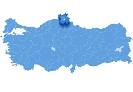 pulled out: Map of Turkey where Sinop province is pulled out, isolated on white background