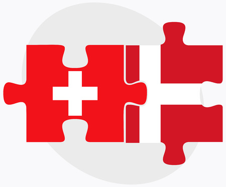 danmark: Switzerland and Kingdom of Denmark Flags in puzzle isolated on white background