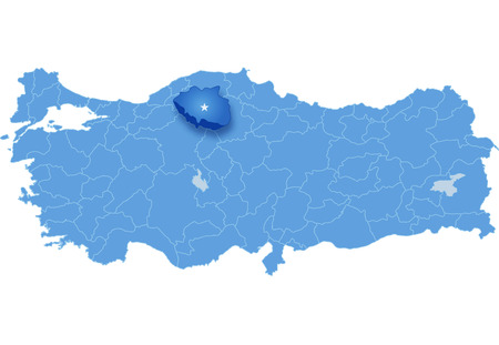 pulled: Map of Turkey where Cankiri province is pulled out, isolated on white background Illustration