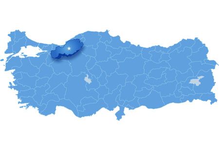 Map of Turkey where Bolu province is pulled out, isolated on white background