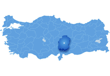 pulled out: Map of Turkey where Kahramanmaras province is pulled out, isolated on white background