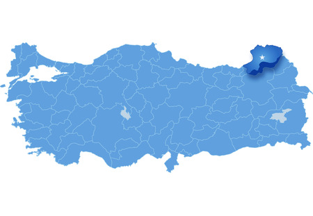pulled: Map of Turkey where Artvin province is pulled out, isolated on white background Illustration