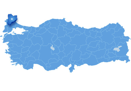 land mark: Map of Turkey where Kirklareli province is pulled out, isolated on white background